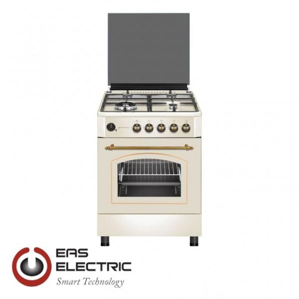 EFG660C COCINA DE GAS EAS ELECTRIC 60X60CM RUSTICA CREMA 4 FUEGOS WOK PARRILLAS DE FUNDICI